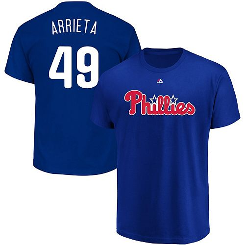 Men's Majestic Jake Arrieta Royal Philadelphia Phillies Official Name & Number T-Shirt