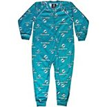 Miami Dolphins Toddler Piped Full Zip Raglan Coverall - Aqua