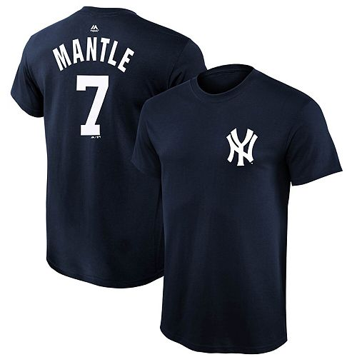 Youth Majestic Mickey Mantle Navy Blue New York Yankees Cooperstown Collection Name & Number T-Shirt