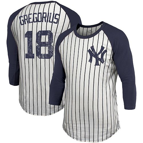 Men's Majestic Threads Didi Gregorius White New York Yankees Pinstripe 3/4-Sleeve Raglan Name & Number T-Shirt