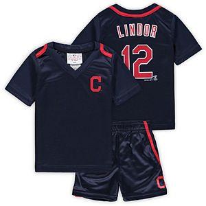 Newborn & Infant Majestic Francisco Lindor Navy Cleveland Indians Ballpark Champ Name & Number V-Neck T-Shirt & Shorts Set
