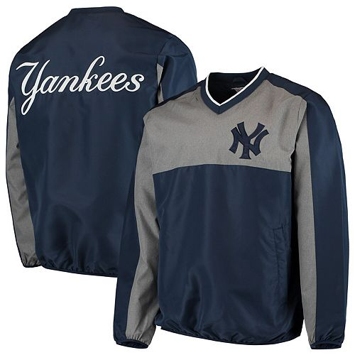 Men's G-III Sports by Carl Banks Navy/Gray New York Yankees Clutch Hitter Pullover V-Neck Jacket