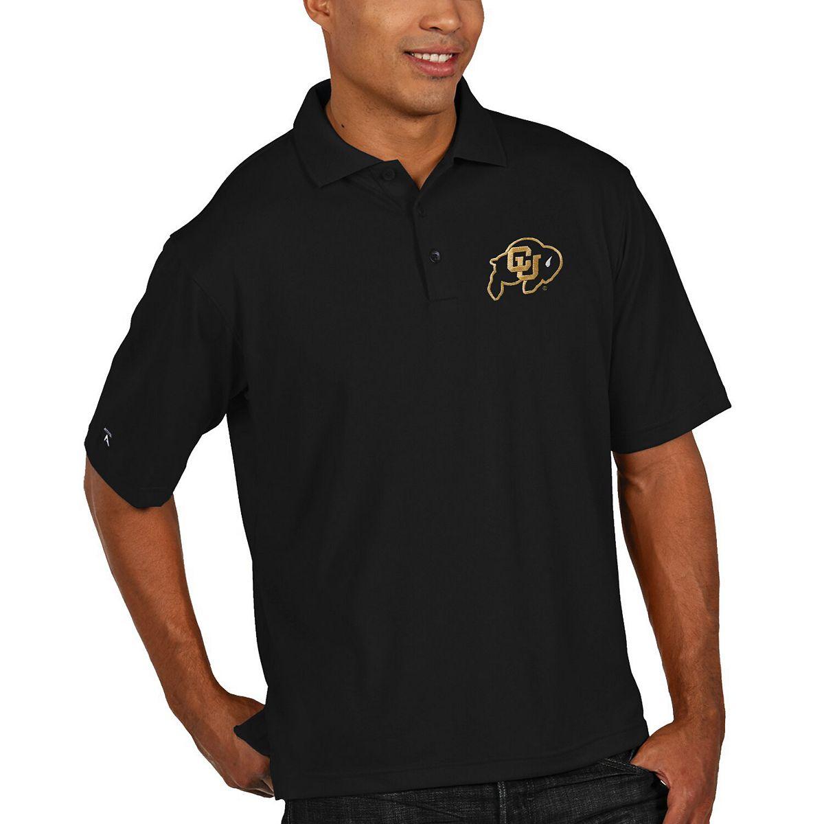 Mens Colorado Buffaloes Antigua Black Logo Grande Pique Polo G2aU9
