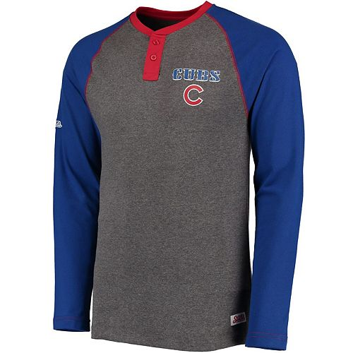 Men's Stitches Heathered Gray/Royal Chicago Cubs Home Run Long Sleeve Henley T-Shirt