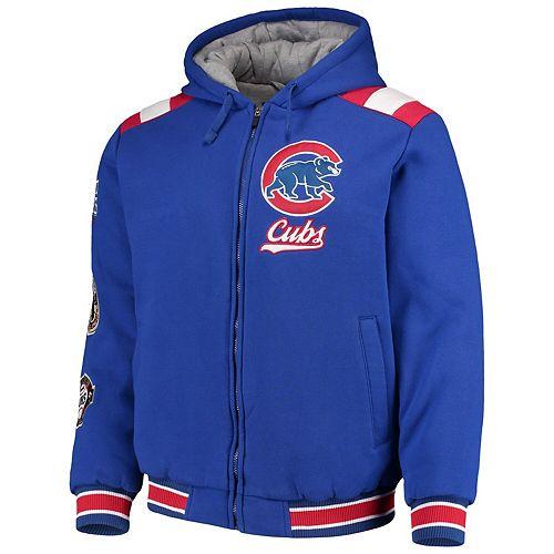 Men's G-III Sports by Carl Banks Royal Chicago Cubs Bullpen Full-Zip Hooded Varsity Jacket