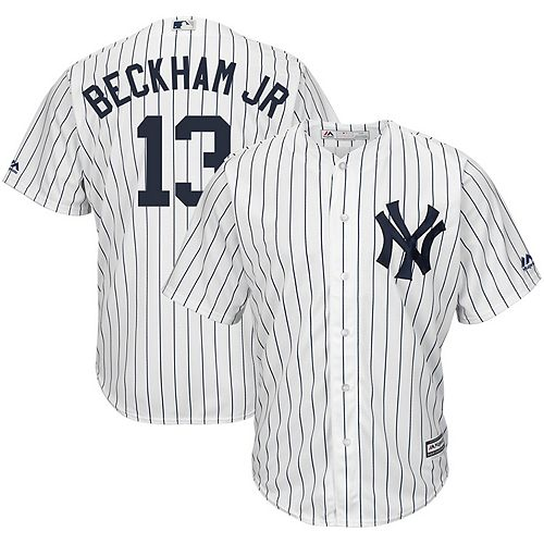 Men's Majestic Odell Beckham Jr White New York Yankees x MLB Crossover Cool Base Player Jersey
