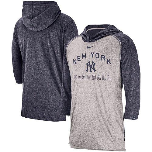 Men's Nike Heathered Gray New York Yankees Flux Performance 3/4-Sleeve Pullover Hoodie