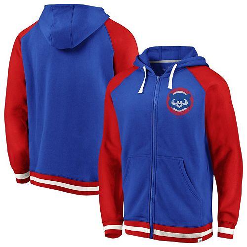 Men's Fanatics Branded Royal Chicago Cubs True Classics Stripe Full-Zip Fleece Hoodie