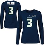 Russell Wilson Seattle Seahawks Majestic Womens Fair Catch V Name and Number Long Sleeve T-Shirt - College Navy