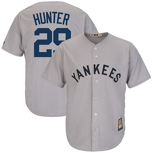 Men's Majestic Catfish Hunter Gray New York Yankees Cooperstown Collection Cool Base Player Jersey