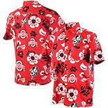 Men's Wes & Willy Scarlet Ohio State Buckeyes Floral Button-Up Shirt