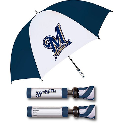 Milwaukee Brewers Golf Umbrella With ID Handle