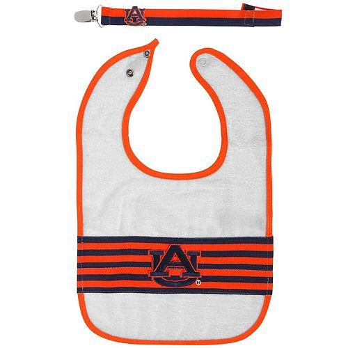 Infant Auburn Tigers Striped Bib and Pacifier Strap Set