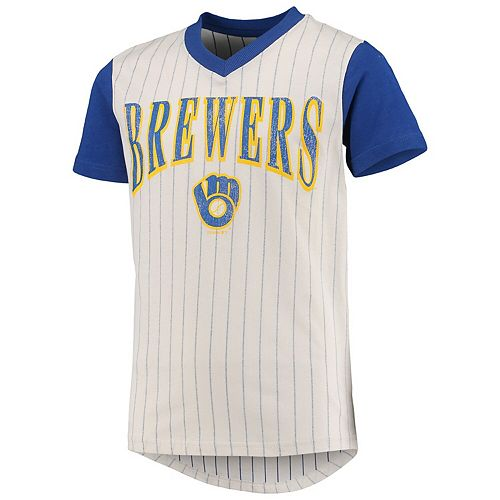 Youth Cream/Royal Milwaukee Brewers Cooperstown Collection Heavy Hitter V-Neck T-Shirt