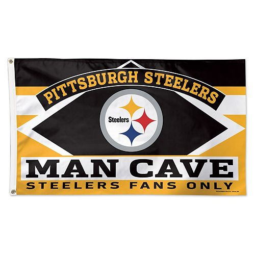 WinCraft Pittsburgh Steelers 3' x 5' Deluxe Man Cave Single-Sided Flag