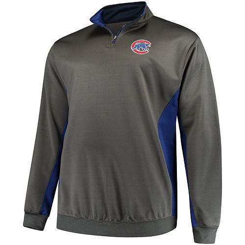 Men's Majestic Charcoal/Royal Chicago Cubs Fleece Pullover Quarter-Zip Jacket
