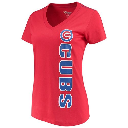 Women's G-III 4Her by Carl Banks Red Chicago Cubs Asterisk V-Neck T-Shirt