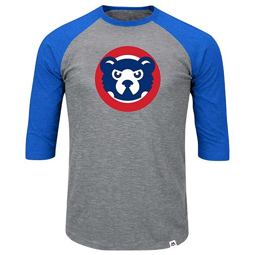 Men's Majestic Heathered Gray/Royal Chicago Cubs Big & Tall Cooperstown Collection Raglan 3/4-Sleeve T-Shirt
