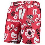 Men's Wes & Willy Red Wisconsin Badgers Floral Volley Swim Trunks