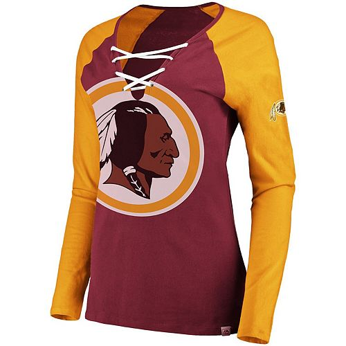on sale f08e4 b9e59 Women's Majestic Burgundy/Gold Washington Redskins Long Sleeve Lace-Up  V-Neck T-Shirt