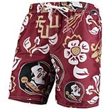 Men's Wes & Willy Garnet Florida State Seminoles Floral Volley Swim Trunks