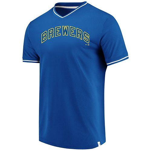 Men's Fanatics Branded Royal Milwaukee Brewers Big & Tall True Classics V-Neck T-Shirt