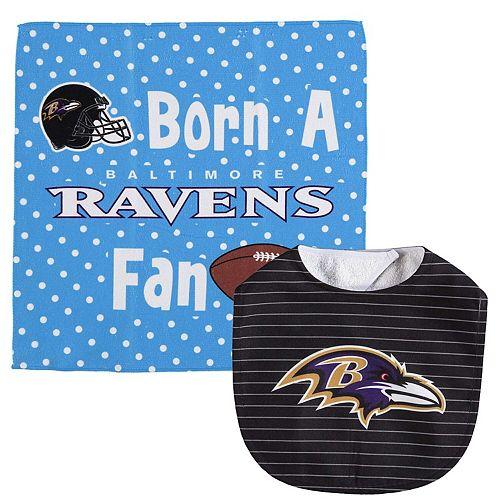 Infant WinCraft Baltimore Ravens Bib and Burp Cloth Set
