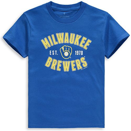 Youth Soft as a Grape Royal Milwaukee Brewers Cotton Crew Neck T-Shirt