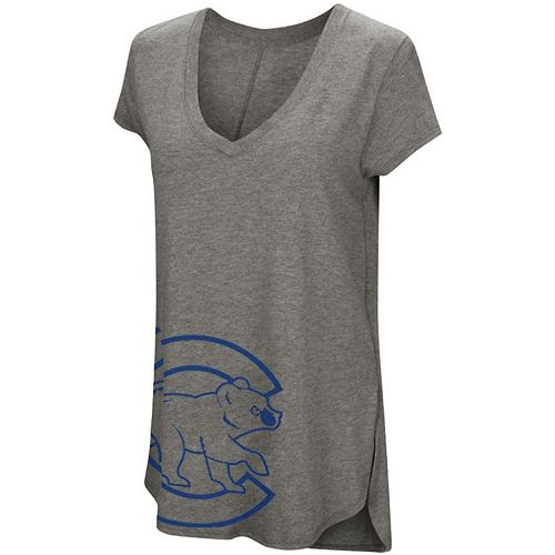 Women's Under Armour Heathered Gray Chicago Cubs Pride Offset Logo V-Neck Performance Tri-Blend T-Shirt