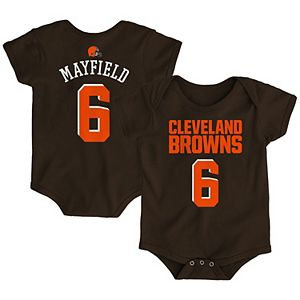 Newborn Baker Mayfield Brown Cleveland Browns Mainliner Name & Number Bodysuit