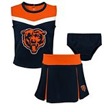Girls Preschool Navy Chicago Bears Two-Piece Spirit Cheer Cheerleader Set With Bloomers