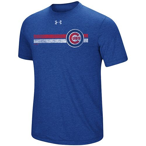 Men's Under Armour Heathered Royal Chicago Cubs Stripe Logo Tri-Blend T-Shirt