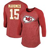 Men's Majestic Threads Patrick Mahomes Red Kansas City Chiefs Player Name & Number Raglan Tri-Blend 3/4-Sleeve T-Shirt