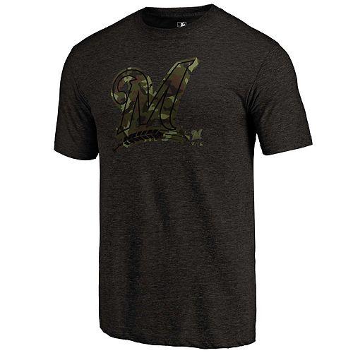 Men's Fanatics Branded Heather Black Milwaukee Brewers 2019 Armed Forces Camo Prestige Tri-Blend T-Shirt