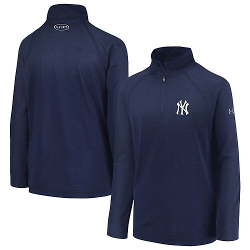 Youth Under Armour Heathered Navy New York Yankees LC Logo Quarter-Zip Raglan Performance Jacket