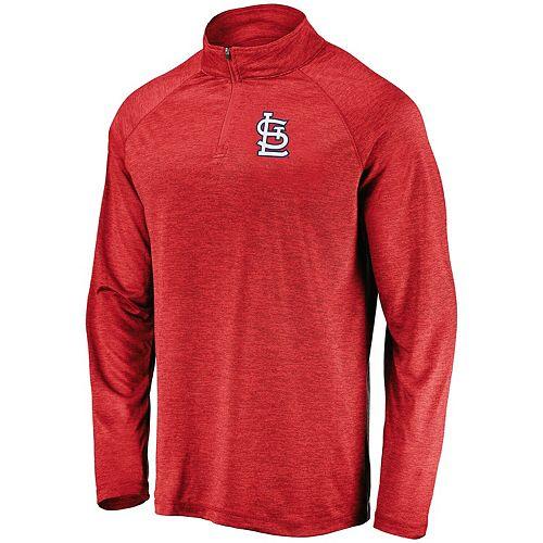 Men's Majestic Red St. Louis Cardinals Contenders Welcome Quarter-Zip Mock Neck Raglan Pullover Jacket