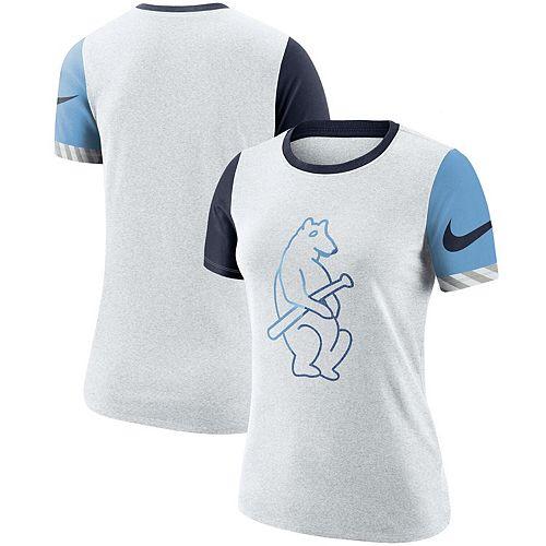 Women's Nike Heathered White Chicago Cubs Slub Two-Tone Logo Performance Crew Neck T-Shirt