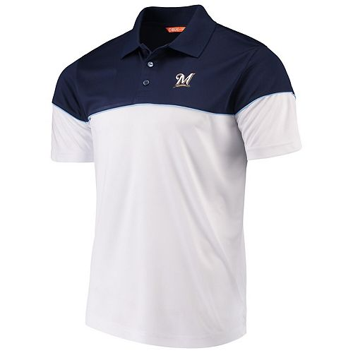 Men's Cutter & Buck Navy/White Milwaukee Brewers Harrington Polo