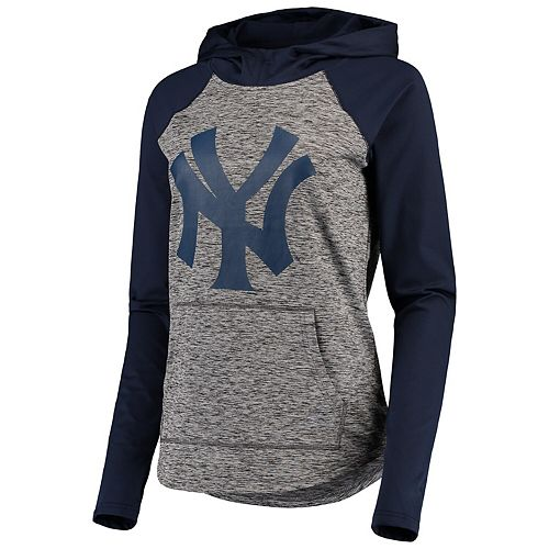 Women's G-III 4Her by Carl Banks Gray/Navy New York Yankees Championship Ring Pullover Hoodie