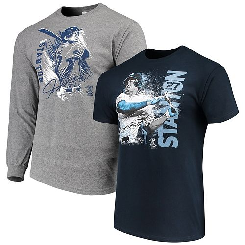 Men's Giancarlo Stanton Navy/Gray New York Yankees Splash Player Graphic T-Shirt Combo Set