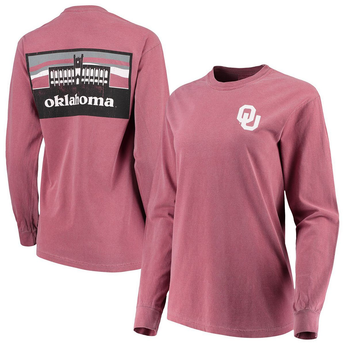 Women's Crimson Oklahoma Sooners Comfort Colors Campus Skyline Long Sleeve Oversized T-Shirt 9wCWl