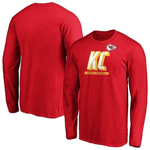 Men's Majestic Red Kansas City Chiefs Iconic Tricode Logo Long Sleeve T-Shirt