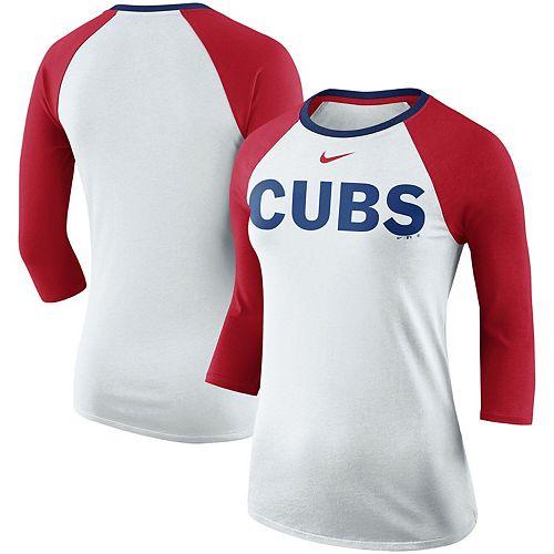 Women's Nike White/Red Chicago Cubs Tri-Blend Raglan 3/4-Sleeve T-Shirt