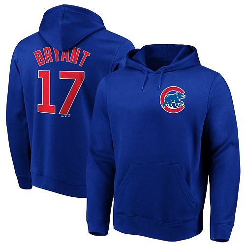 Men's Majestic Kris Bryant Royal Chicago Cubs Authentic Name & Number Pullover Hoodie