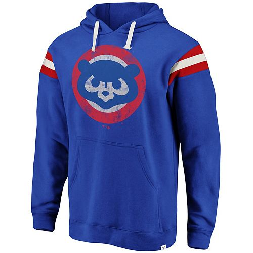 Men's Fanatics Branded Royal Chicago Cubs Big & Tall True Classics Retro Stripe Pullover Hoodie