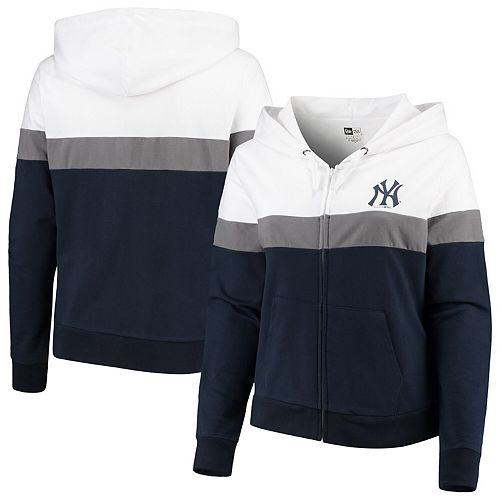 Women's New Era Navy/White New York Yankees Plus Size Colorblock French Terry Full-Zip Hoodie