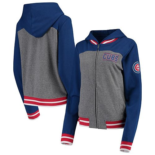 Women's New Era Gray/Royal Chicago Cubs French Terry Full-Zip Hoodie