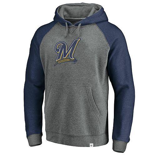 Men's Fanatics Branded Gray/Navy Milwaukee Brewers Team Logo Tri-Blend Pullover Hoodie