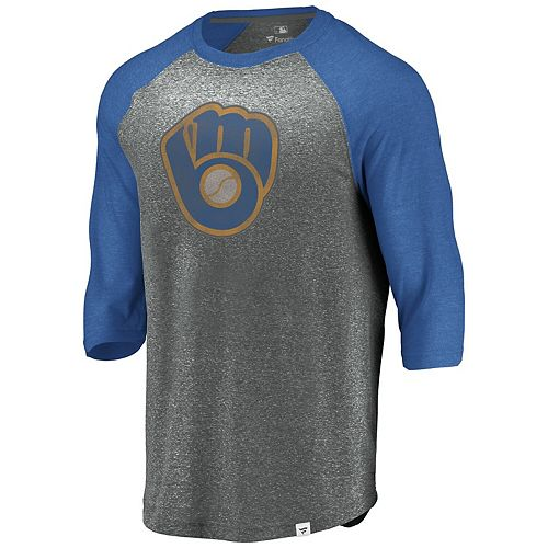 Men's Fanatics Branded Heathered Gray/Royal Milwaukee Brewers Cooperstown Collection Massive Devotees Tri-Blend Raglan 3/4-Sleeve T-Shirt