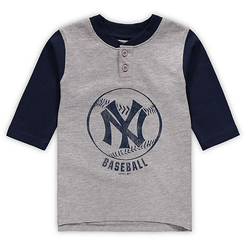 Toddler Gray/Navy New York Yankees Cooperstown Collection Legacy Henley 3/4-Sleeve T-Shirt